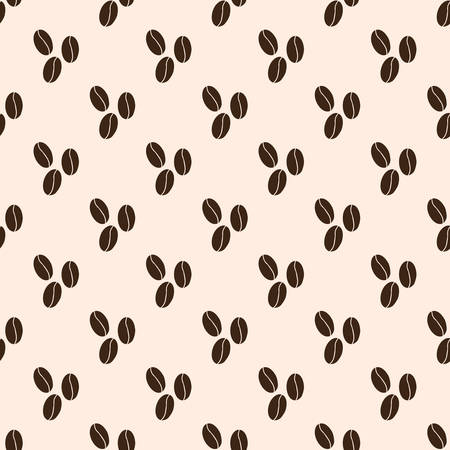 seamless pattern with coffee beans on brown background