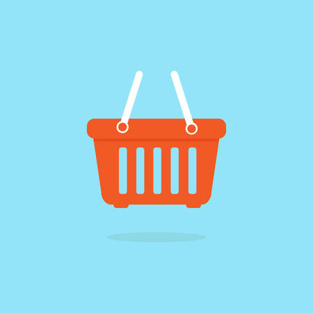 Orange Basket icon,plastic empty shopping basket. sign shopping bag, box. Stock Illustratie