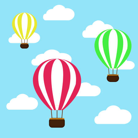 hot air balloon in the clouds background. vector illustration Stock Illustratie