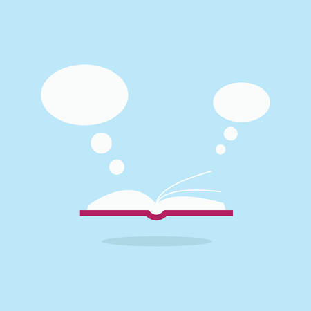 Open book and white speech bubble flying out. Flat reading icon. Иллюстрация