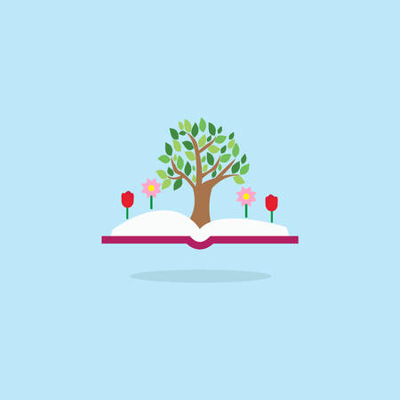 Open book with tree and flowers. Inspiration pictogram. Power of knowledge and education sign.