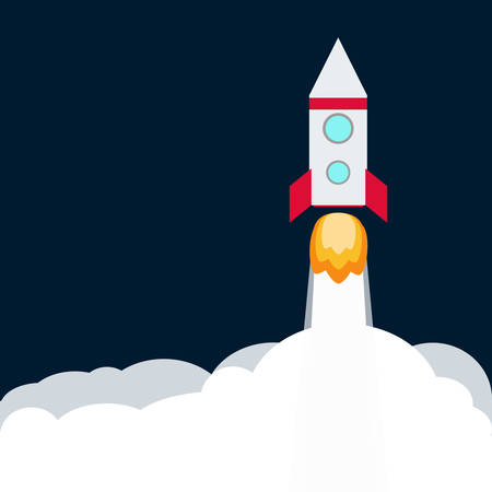Rocket. Spaceship take off with fire. Colored space ship icon.  Business concept. Иллюстрация