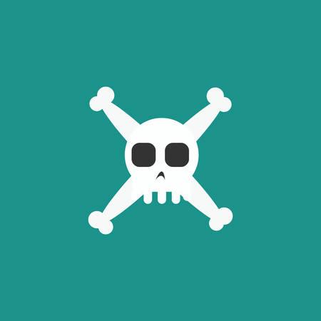 Simple cartoon skull and crossbones icon