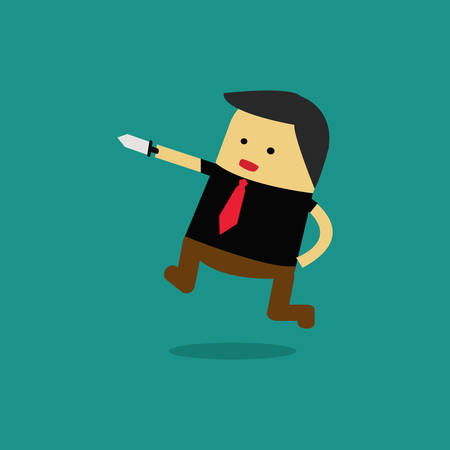 Businessman Celebrating Business . Vector illustration.A knife with in his hand.