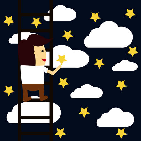 Businessman reaching to the star, Business concept a ladder corporate of success. Иллюстрация
