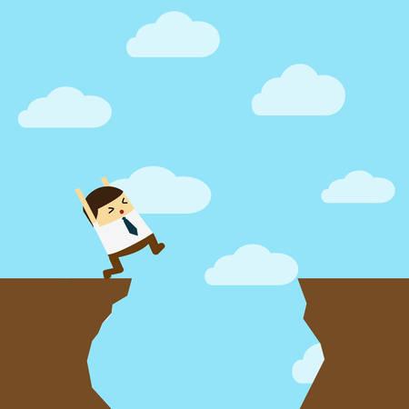 Businessman in front of a gap.businessman jump through the gap Иллюстрация