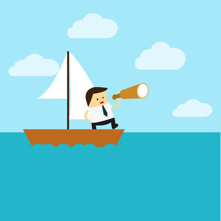 Knowledge.Flat design business concept cartoon illustration.business man with boat.