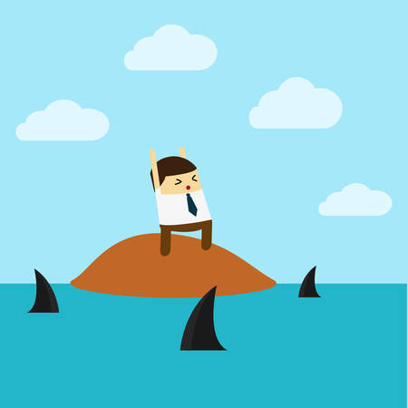 Knowledge.Flat design business concept cartoon illustration.business man with boat.Businessman standing on island in ocean among sharks - vector illustration