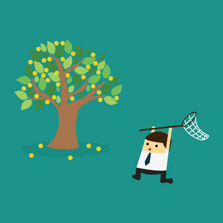 businessman trying to catch money.Business concept vector illustration. Иллюстрация