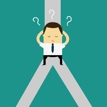 Confused, Standing at the crossroad.Choice way concept. Decision business metaphor. Vector flat style design.