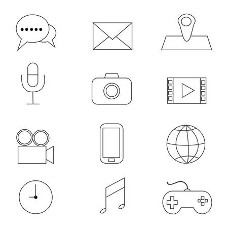 Multimedia Icons with White Background.