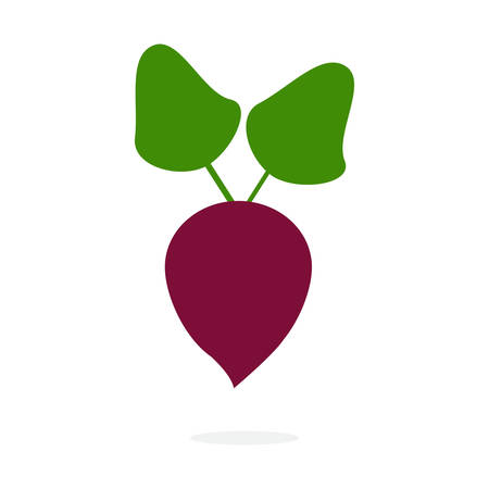 Icon of ripe beetroot with big green leaves. Иллюстрация