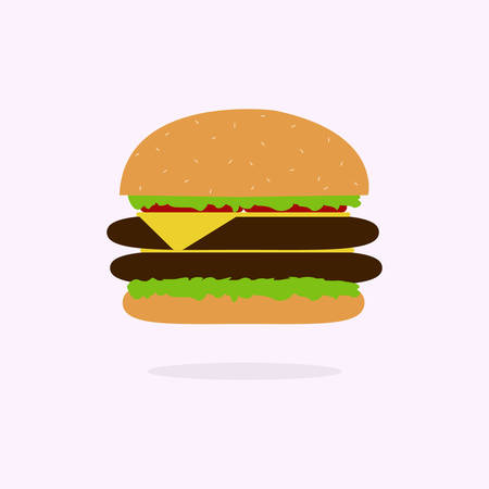 Hamburger Classic Burger American Cheeseburger with Lettuce Tomato Onion Cheese Beef and Sauce Illustration