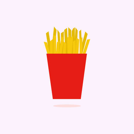 Vector Potatoes French Fries in Red Carton Package Box