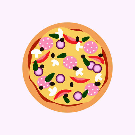 Fresh pizza with tomato, cheese, olive, sausage, onion, basil. Traditional italian fast food. Top view meal. Illustration