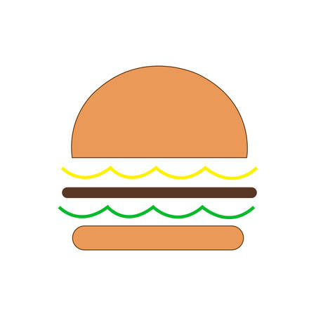 Hamburger Classic Burger American Cheeseburger with Lettuce Tomato Onion Cheese Beef and Sauce Иллюстрация