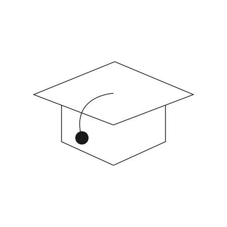 Simple graduation hat line icon.