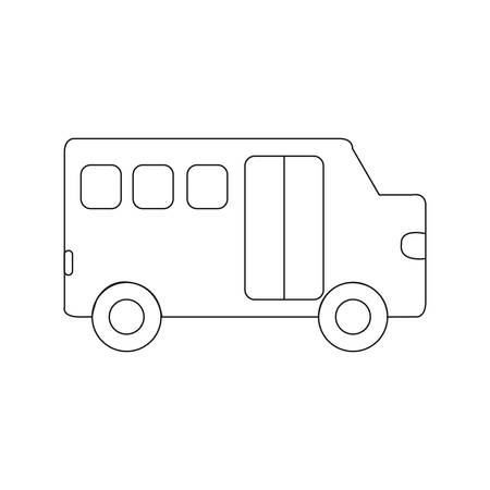 Bus outline icons. Vector illustration