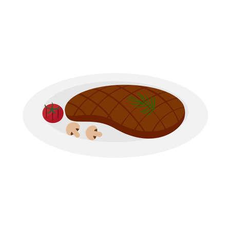 beef steak on a plate Иллюстрация