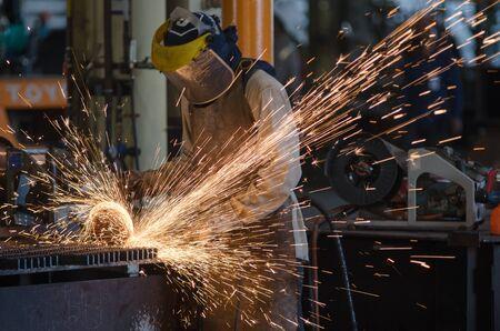 steel factory: Human in factory Steel Grinder work