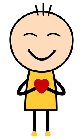 Vector Illustration of a boy cartoon in yellow dress holding red heart and smiling with closed eyes. Suitable for Love, happiness or valentine.