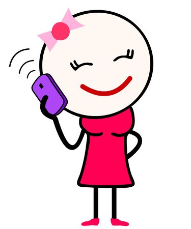 Vector Illustration of a cute girl cartoon in pink dress talking over mobile phone with closed eyes. Suitable for Love or happiness.