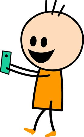 Vector Illustration of a cute boy cartoon in yellow dress playing and enjoying his mobile phone while walking.