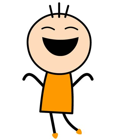 Vector Illustration of a cute boy cartoon in yellow dress dancing and jumping with joy.