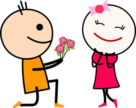 Vector illustration of a cute cartoon love couple, boy proposing girl with roses. Ilustrace
