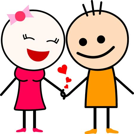 Vector Illustration of a cute cartoon love couple, holding hands.