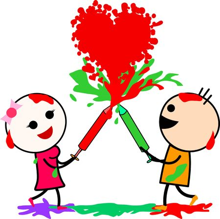 Vector illustration of a cute cartoons (boy and girl) playing with colors and enjoying the moment of love and happiness. Celebrating Indian festival Holi. Ilustrace