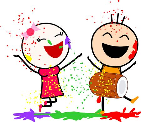 Vector illustration of a cute cartoons (boy and girl) playing with colors and dancing with joy. Celebrating Indian festival Holi. Ilustrace
