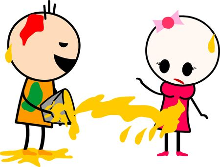 Vector illustration of a cute cartoons (boy and girl) playing with colors. Celebrating Indian festival Holi. Ilustrace