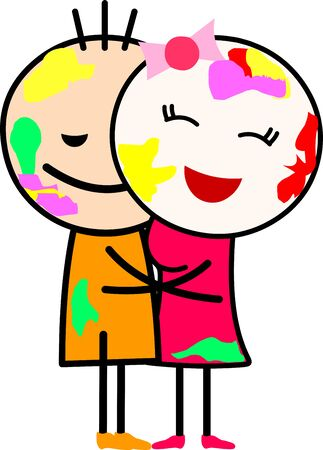 Vector illustration of a cartoon love couple (boy and girl) hugging and playing with colors. Celebrating Indian festival Holi. Ilustrace