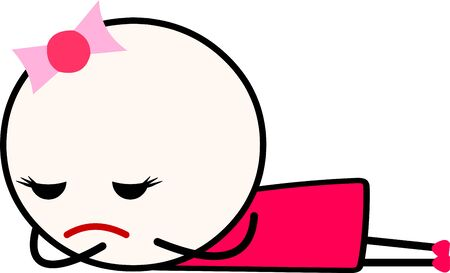 Vector illustration of a sad cartoon girl laying down (facing down) while crying. Concept of frustration, depression, heart break, break up, failure.