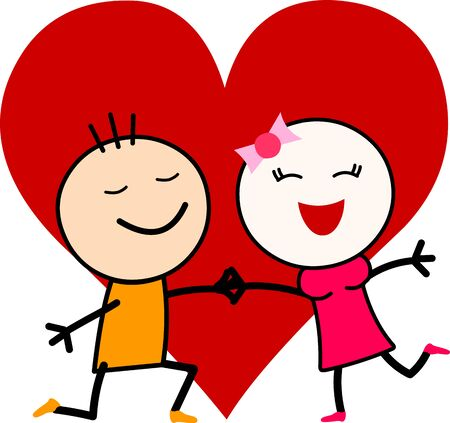 Vector illustration of a cute cartoon romantic couple in love with a big heart.
