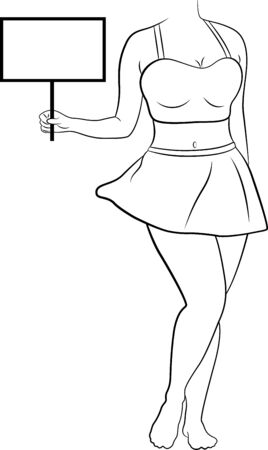 Vector illustration of a standing girl in short skirt and top holding an empty sign board in hand.