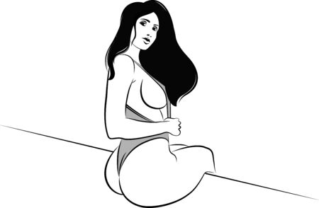Vector illustration of a beautiful girl sitting in a sexy pose wearing bikini. Reklamní fotografie - 132097845