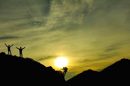 岩登山成功 写真素材