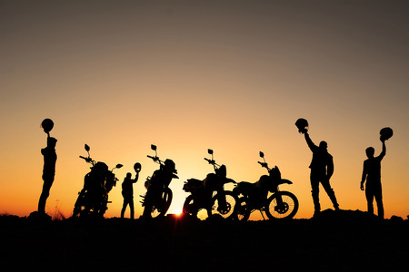 motorcycle silhouette team 스톡 콘텐츠