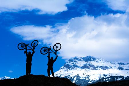 mountain biker: mountain biker and success Stock Photo