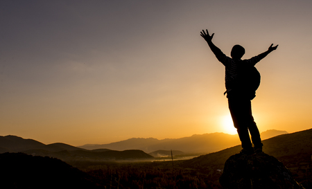 generosa: Ver la salida del sol en la cumbre Foto de archivo