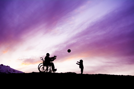 The disabled man and his last playing ball Stok Fotoğraf - 49744262