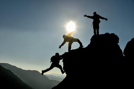 adventurers: amateur mountaineer team spirit Stock Photo