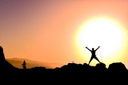 overwinning op het hoogtepunt van geluk Stockfoto