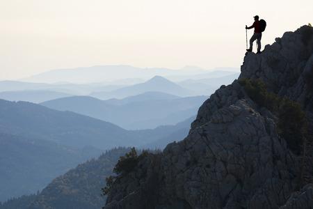 resoluut en vastberaden klimmers Stockfoto