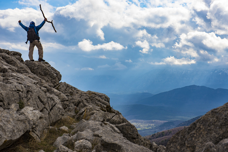 successful mountain climbing & discovery time Stock Photo