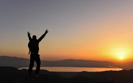 winning mood: perfect sunrise happiness Stock Photo