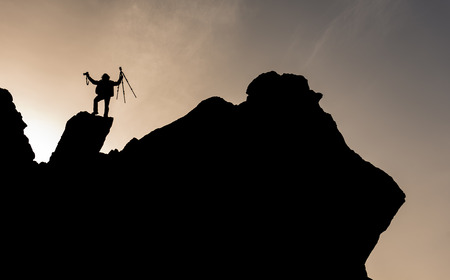 outstanding photographer at the summit in the rocky mountains Stock Photo