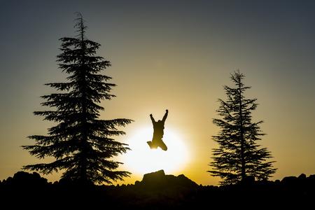 enjoy nature & healthy, joyful Stock Photo